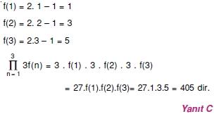 01871 Toplam Çarpım Sembolü Çözümlü Soruları (Test 1 )