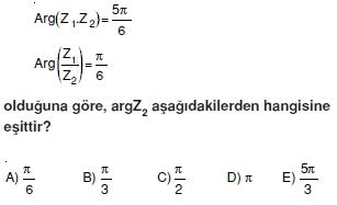 01942 Karmaşık Sayılar Çözümlü Sorular (Testi 2)