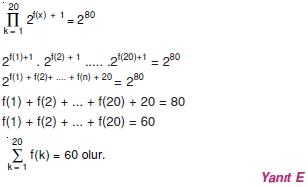 01954 Toplam Çarpım Sembolü Çözümlü Soruları (Test 1 )
