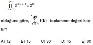 01956 Toplam Çarpım Sembolü Çözümlü Soruları (Test 1 )