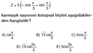 02033 Karmaşık Sayılar Çözümlü Sorular (Testi 2)