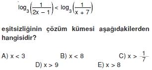 02042 Logaritma Soruları (Test 1 )