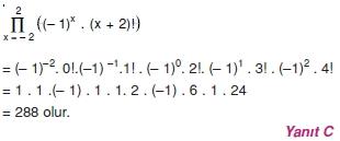 02043 Toplam Çarpım Sembolü Çözümlü Soruları (Test 1 )
