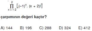 02044 Toplam Çarpım Sembolü Çözümlü Soruları (Test 1 )