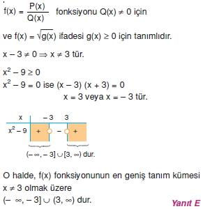 00232 Özel Tanımlı Fonksiyonlar Çözümlü Sorular (Test 1 )