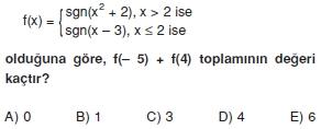 00333 Özel Tanımlı Fonksiyonlar Çözümlü Sorular (Test 1 )