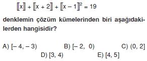 00725 Özel Tanımlı Fonksiyonlar Çözümlü Sorular (Test 1 )