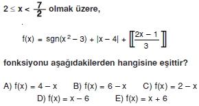 01024 Özel Tanımlı Fonksiyonlar Çözümlü Sorular (Test 1 )