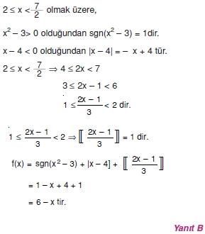 01025 Özel Tanımlı Fonksiyonlar Çözümlü Sorular (Test 1 )