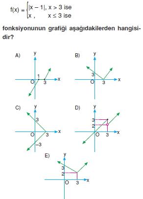 01122 Özel Tanımlı Fonksiyonlar Çözümlü Sorular (Test 1 )