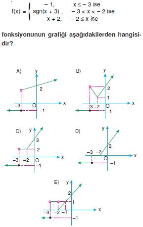 01316 Özel Tanımlı Fonksiyonlar Çözümlü Sorular (Test 1 )