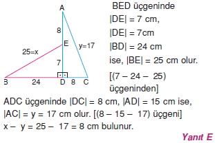 Dik Ucgen Cozumler I 0011 Dik Üçgen Çözümlü Sorular (Test 2)