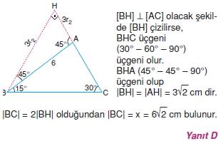 Dik Ucgen Cozumler I 0041 Dik Üçgen Çözümlü Sorular (Test 2)