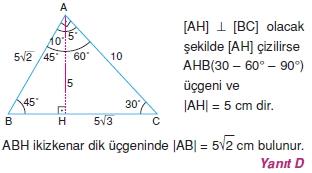 Dik Ucgen Cozumler I 0101 Dik Üçgen Çözümlü Sorular (Test 2)