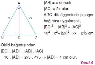 Dik Ucgen Cozumler I 0111 Dik Üçgen Çözümlü Sorular (Test 2)