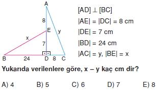 Dik Ucgen Cozumlu Test I 001 Dik Üçgen Çözümlü Sorular (Test 2)