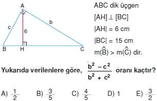 Dik Ucgen Cozumlu Test I 003 Dik Üçgen Çözümlü Sorular (Test 2)