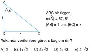 Dik Ucgen Cozumlu Test I 005 Dik Üçgen Çözümlü Sorular (Test 2)