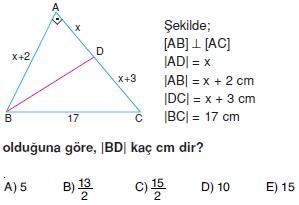 Dik Ucgen Cozumlu Test I 009 Dik Üçgen Çözümlü Sorular (Test 2)