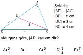 Dik Ucgen Cozumlu Test I 012 Dik Üçgen Çözümlü Sorular (Test 2)